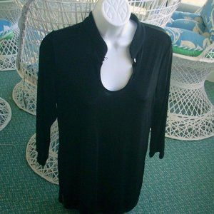 ❤️CITIKNITS TOP Black Stretchy 3/4 Slevees Small